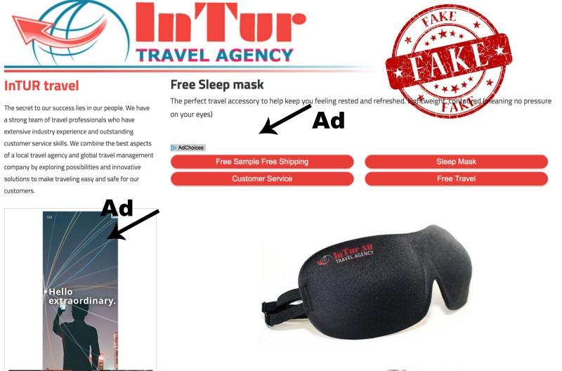 fake intur travel sleep mask