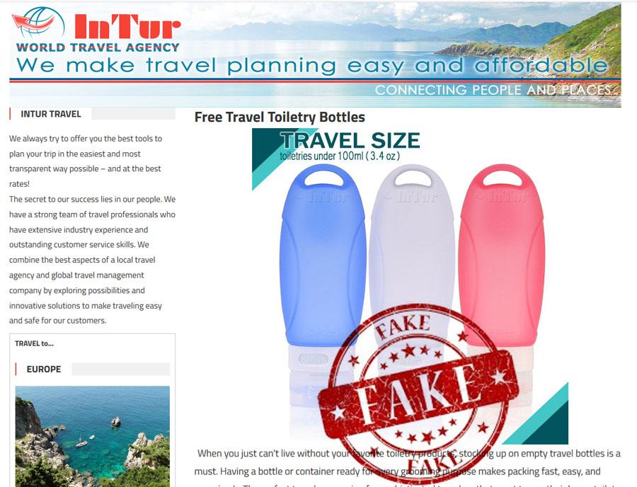 fake free travel toiletree bottles intursu