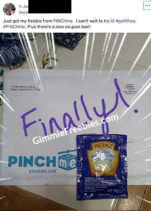 pinchme heinz free sample box mail proof