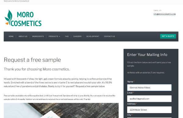 morocosmetics fake free sample