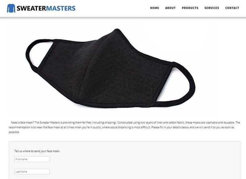 fake sweatermasters face mask