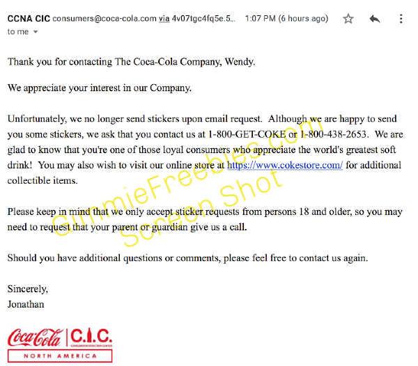 free coke sticker email
