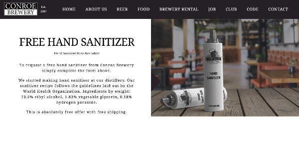 free hand sanitizer fake offer
