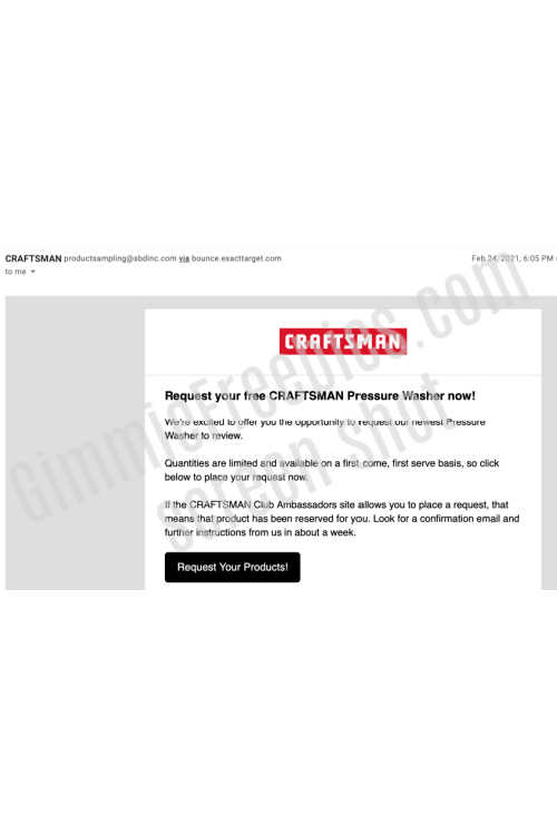 craftsman product sampling program