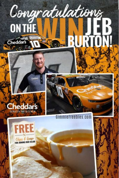 cheddars nascar free chips queso