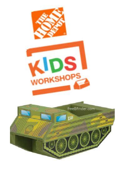 November Home Depot Kids Workshop: Free Amphibious Military Vehicle Craft
